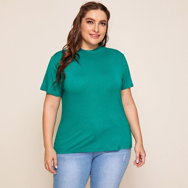 Plus Mock-Neck Solid Top, Green