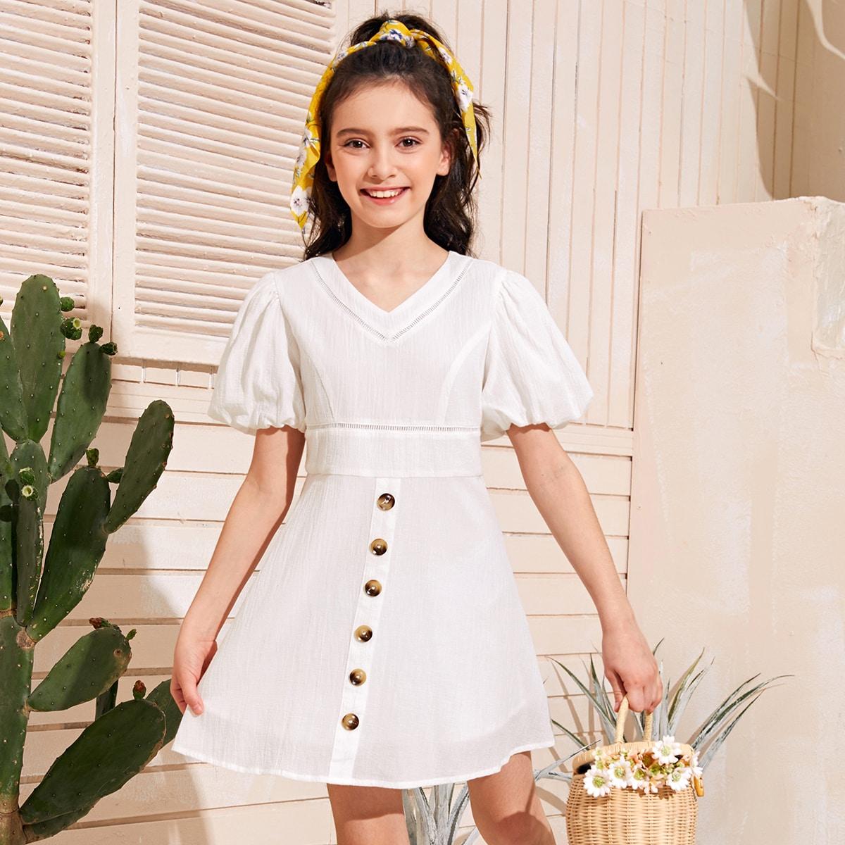 Платье с пышными рукавами и кружевной вставкой для девочек