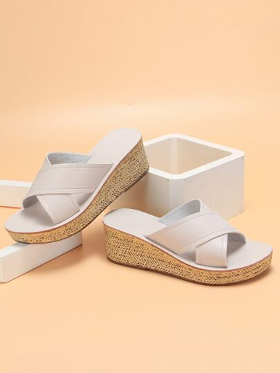 Cross Strap Wedge Mules