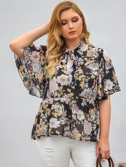 Plus Allover Floral Tie Neck Chiffon Babydoll Blouse