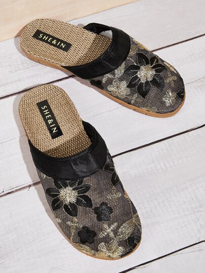 Round Toe Floral Embroidered Sliders