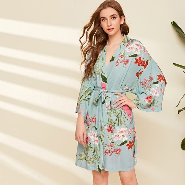 Floral Print Belted Wrap Robe, Blue