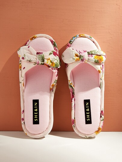 Bow Decor Floral Slippers