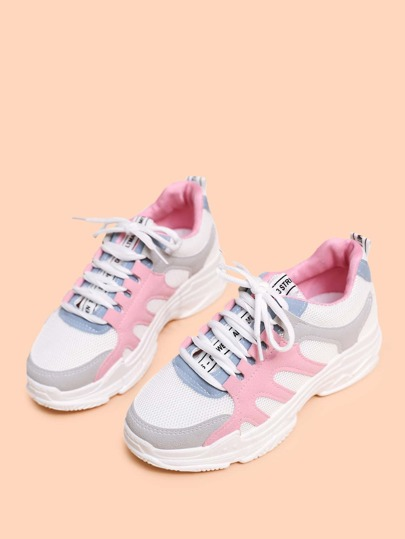 Colorblock Lace-up Front Sneakers