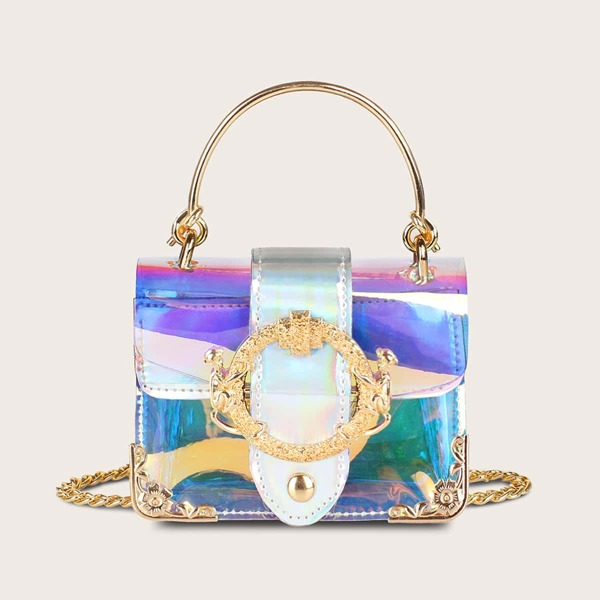 Mini Holographic Metal Decor Chain Satchel Bag, Multicolor
