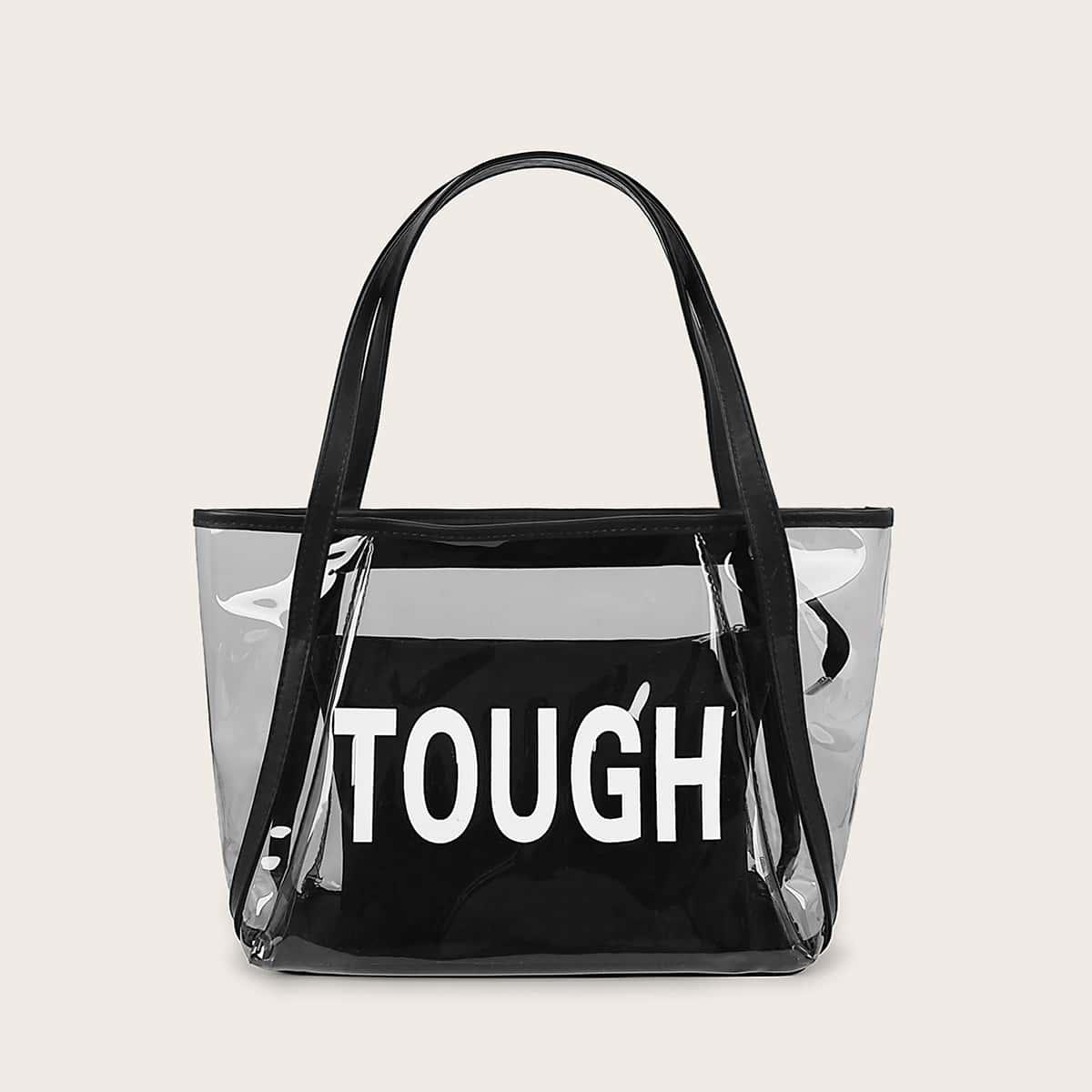 Прозрачная сумка-тоут с текстовым принтом и внутренний мешок