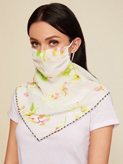 Floral Print Protection Face Mask Scarf