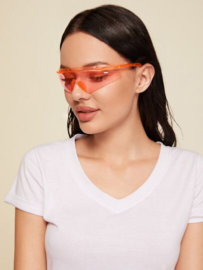 Flat Top Shield Rimless Sunglasses