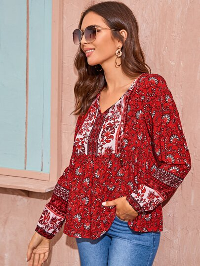 Tie Neck Tribal Print Blouse