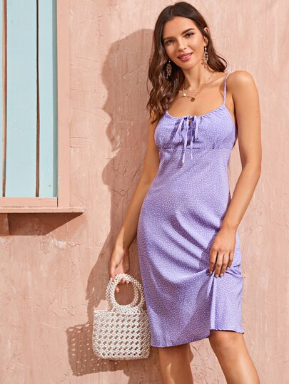 Polka Dot Lace-up Cami Dress