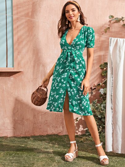 Floral Print Belted Plunging Neck Wrap Dress