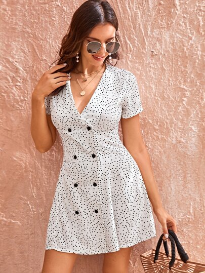 Polka Dot Double Breasted Dress