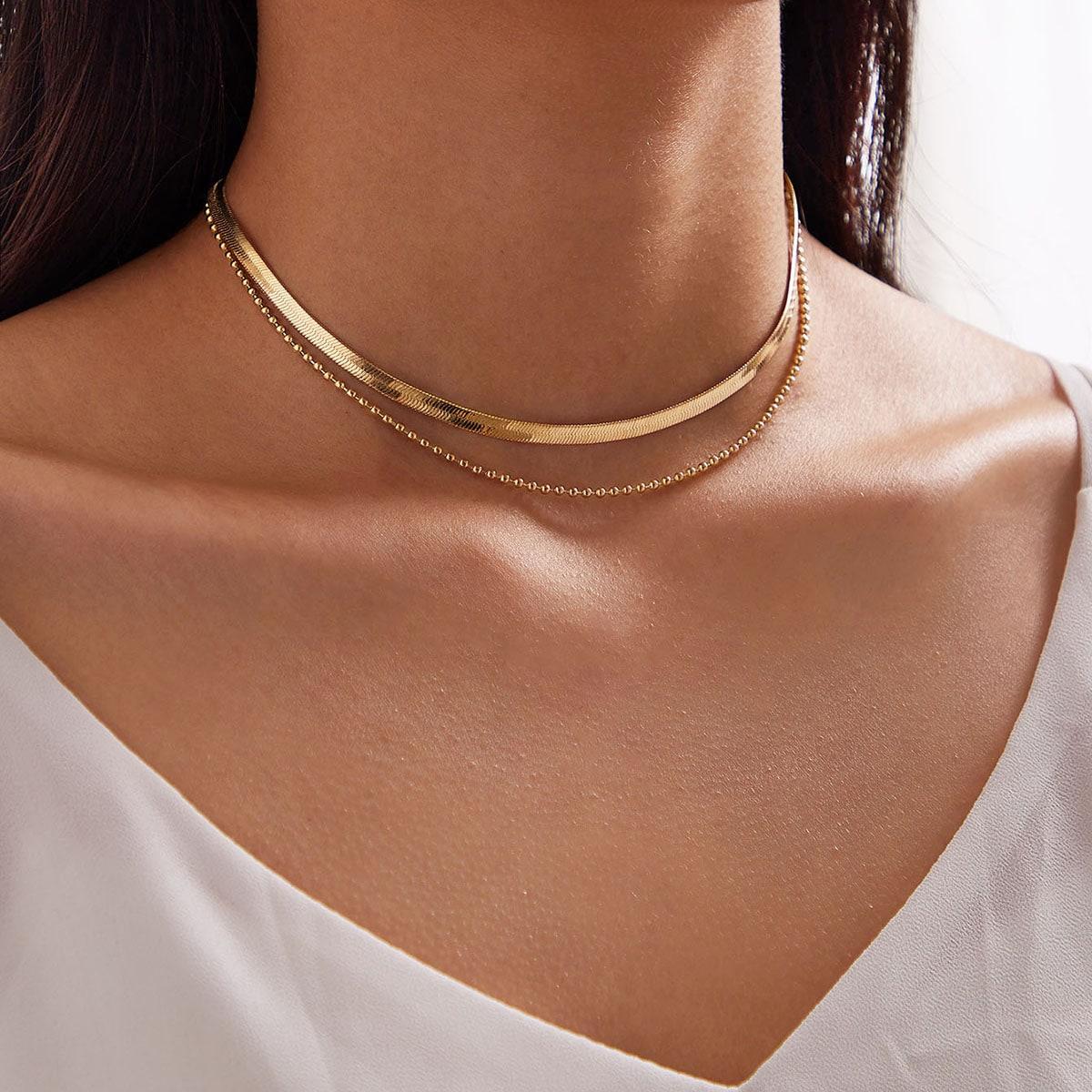Многослойное ожерелье с бусами и декором змеиной кости 1шт от SHEIN