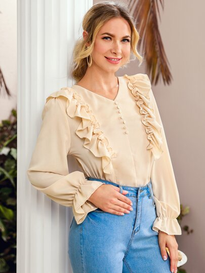 Solid Ruffle Trim Covered Button Blouse