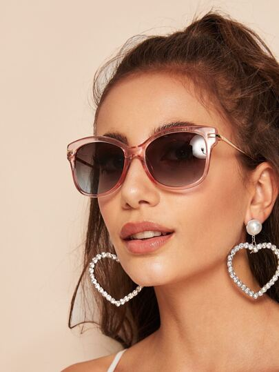 Transparent Frame Sunglasses With Case