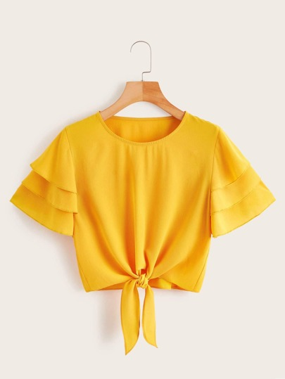 Plus Knot Front Layered Sleeve Crop Blouse