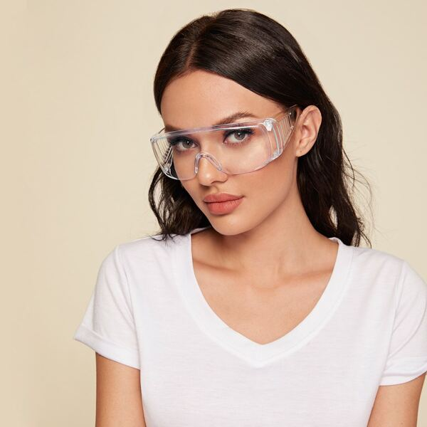 Clear Flat Top Shield Goggle Glasses