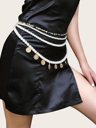Disc Charm Faux Pearl Beaded Waist Chain Belt