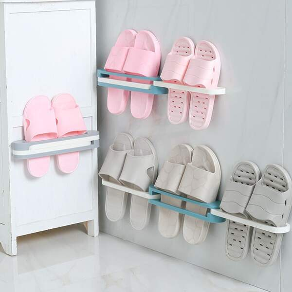 1pc 3 In 1 Bathroom Slippers Rack, Multicolor