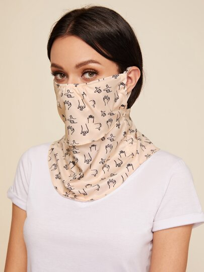 Graphic Face Protection Mask Scarf