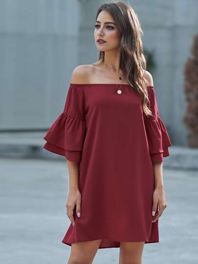 Solid Off Shoulder Layered Sleeve Tunic Dress
