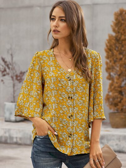 Ditsy Floral Print Button Up Blouse