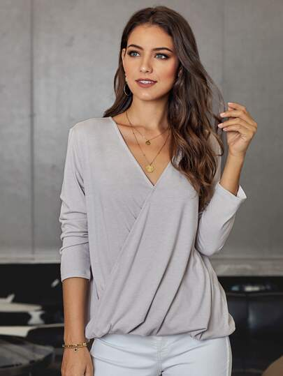 Surplice Front Curved Hem Tee