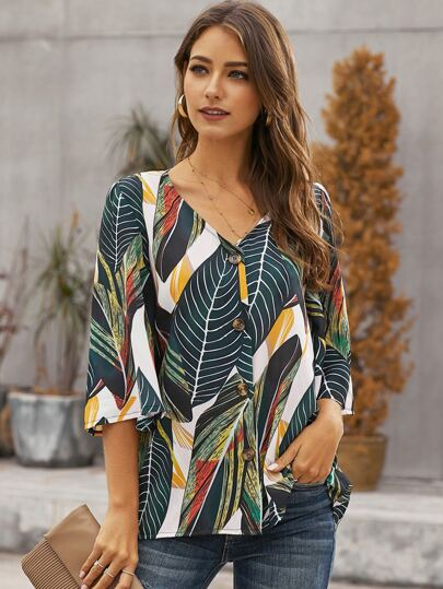 Tropical Print Button Up Blouse