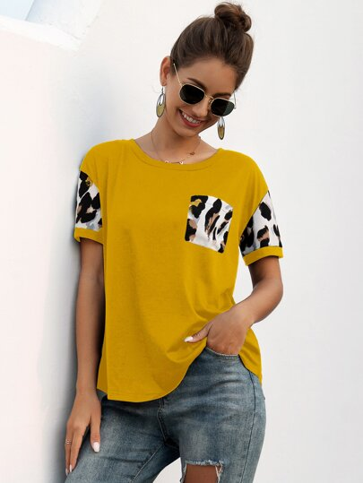 Colorblock Pocket Front Round Neck Tee