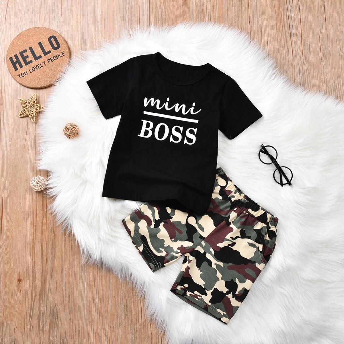 Kleinkind Jungen T-Shirt mit Buchstaben Grafik & Shorts Set mit Camo Muster