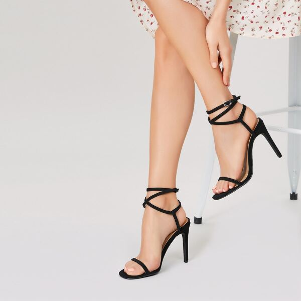 Ankle Wrap Open Toe Strappy Stiletto Heels, Black
