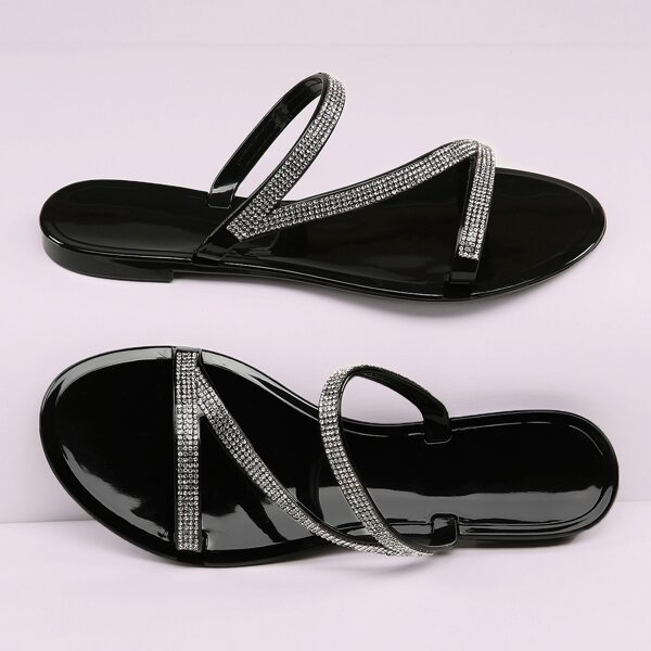 Rhinestone Strappy Open Toe Jelly Slide Sandals, Black