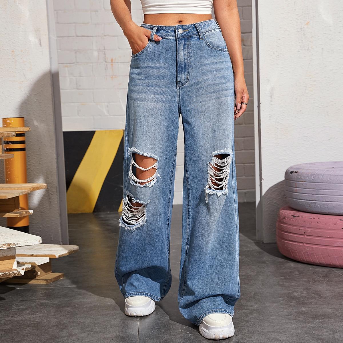 Рваные широкие джинсы без сумки