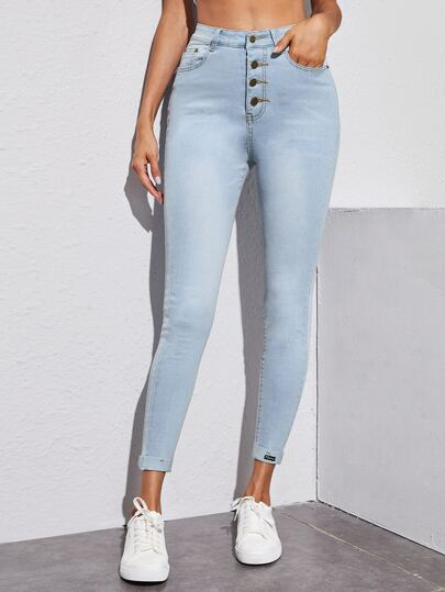 Single Breasted Cropped Skinny Jeans