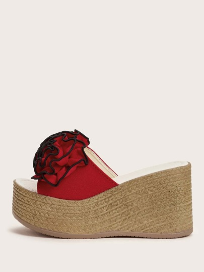 Flower Appliques Wedge Mules