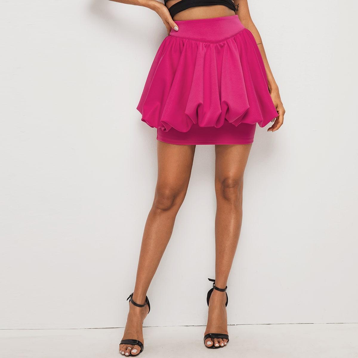 Zipper Back Solid Lantern Skirt