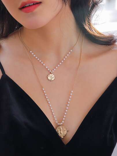 1pc Faux Pearl Beaded & Coin Charm Layered Necklace