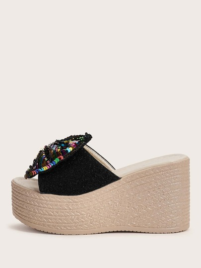 Colorful Sequin Bow Decor Espadrille Wedge Mules