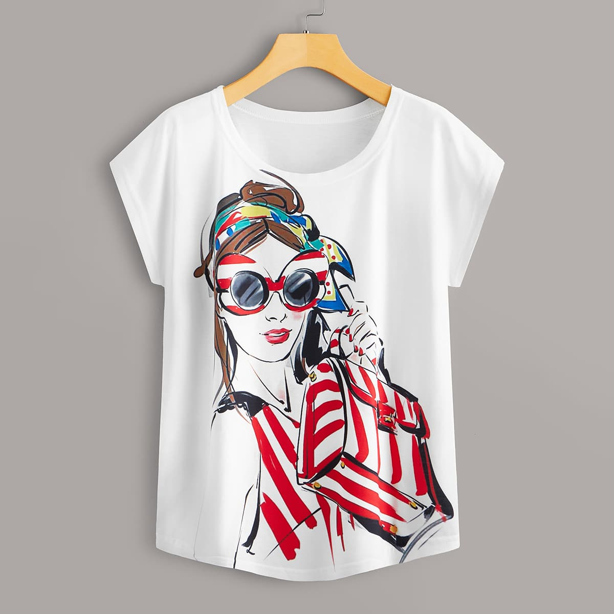 Wit Casual Figuren T-shirt