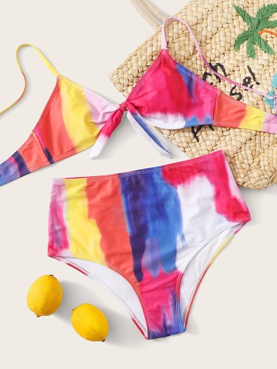 Tie Dye Knot Front High Waisted Bikini Swimsuit