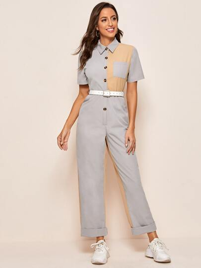 Cut And Sew Belted Shirt Jumpsuit