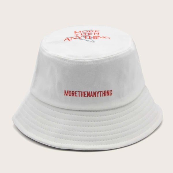 Letter Embroidered Bucket Hat, White