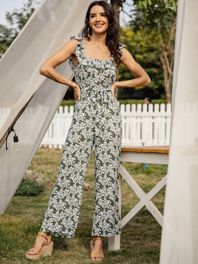Floral Print Ruffle Trim Belted Jumpsuit