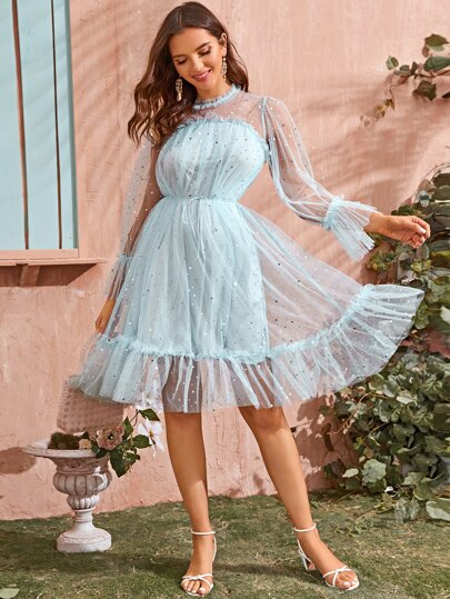 Ruffle Hem Belted Galaxy Mesh A-line Dress