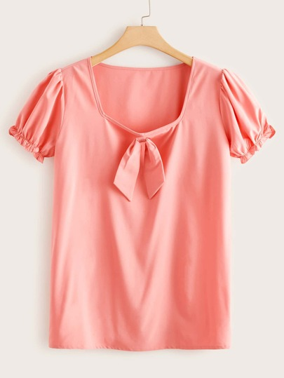 Plus Knot Front Solid Tee