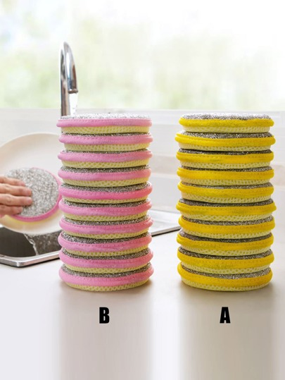 5pcs Double-sided Cleaning Sponge Brush