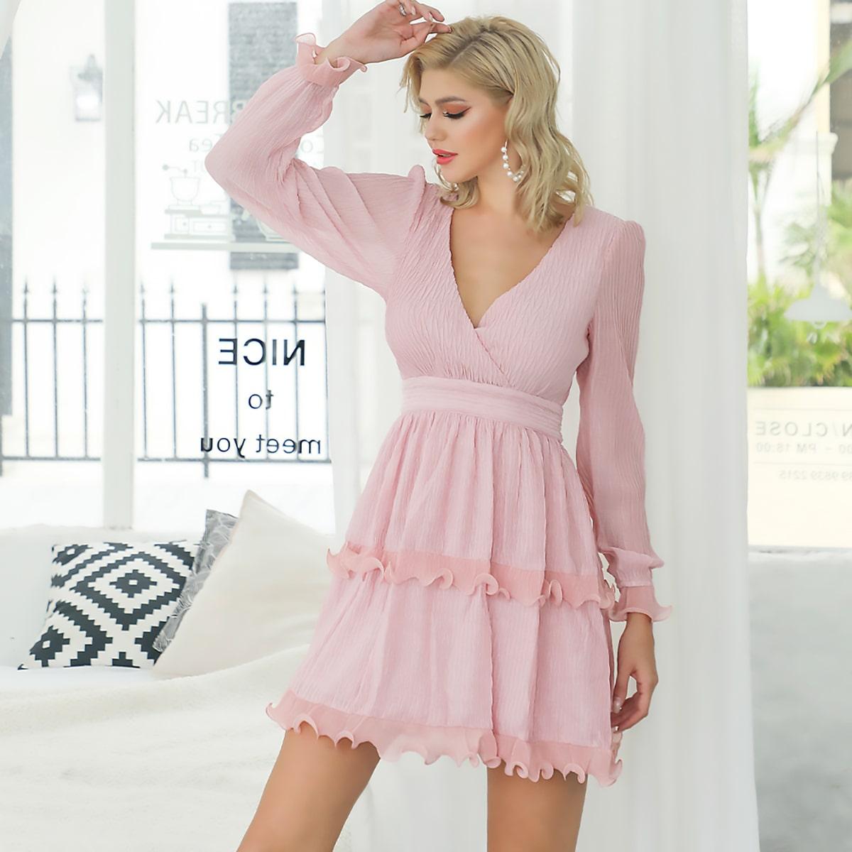 Missord Kleid mit gekräuseltem Saum, V Kragen und Gürtel