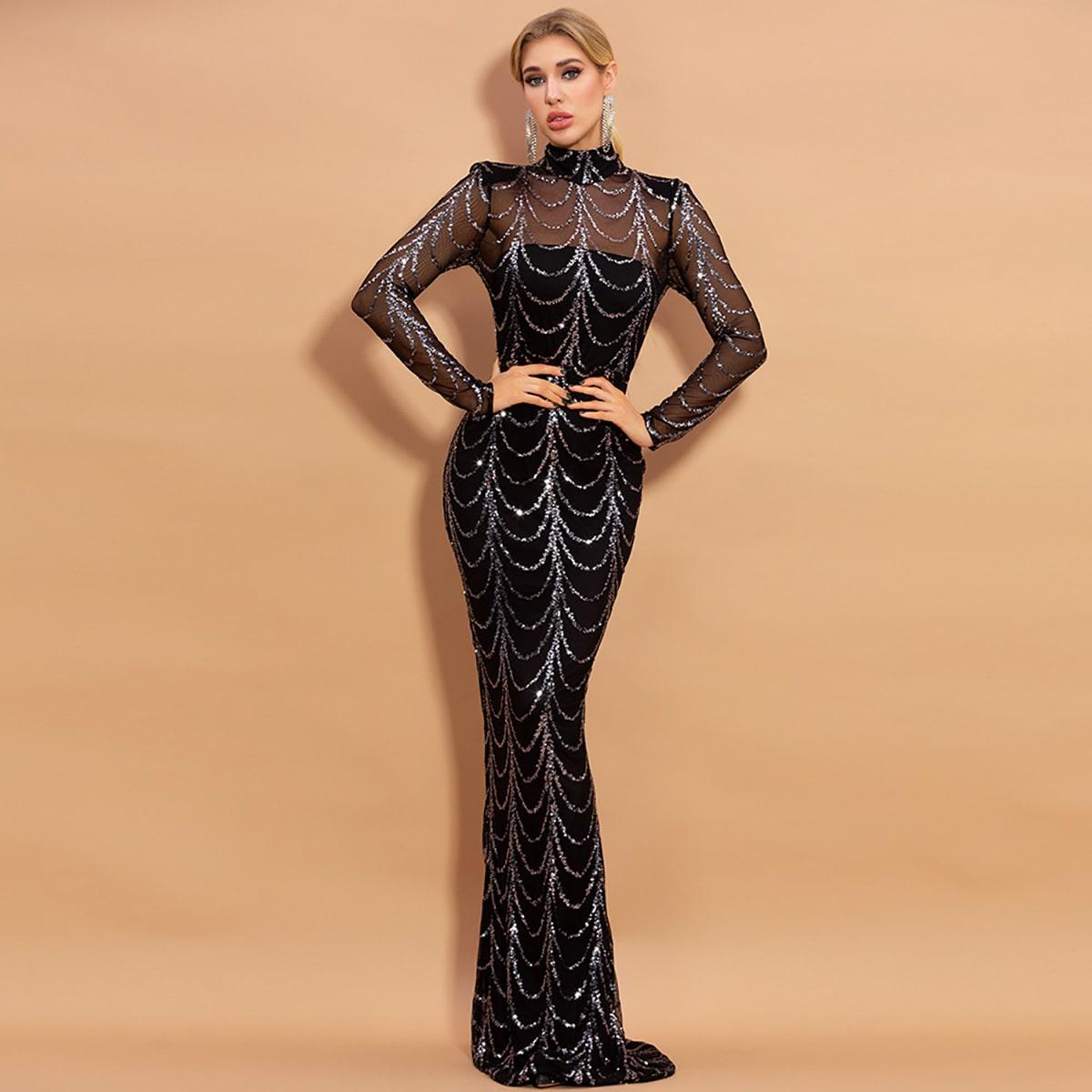 Платье с сетчатой вставкой и блестками