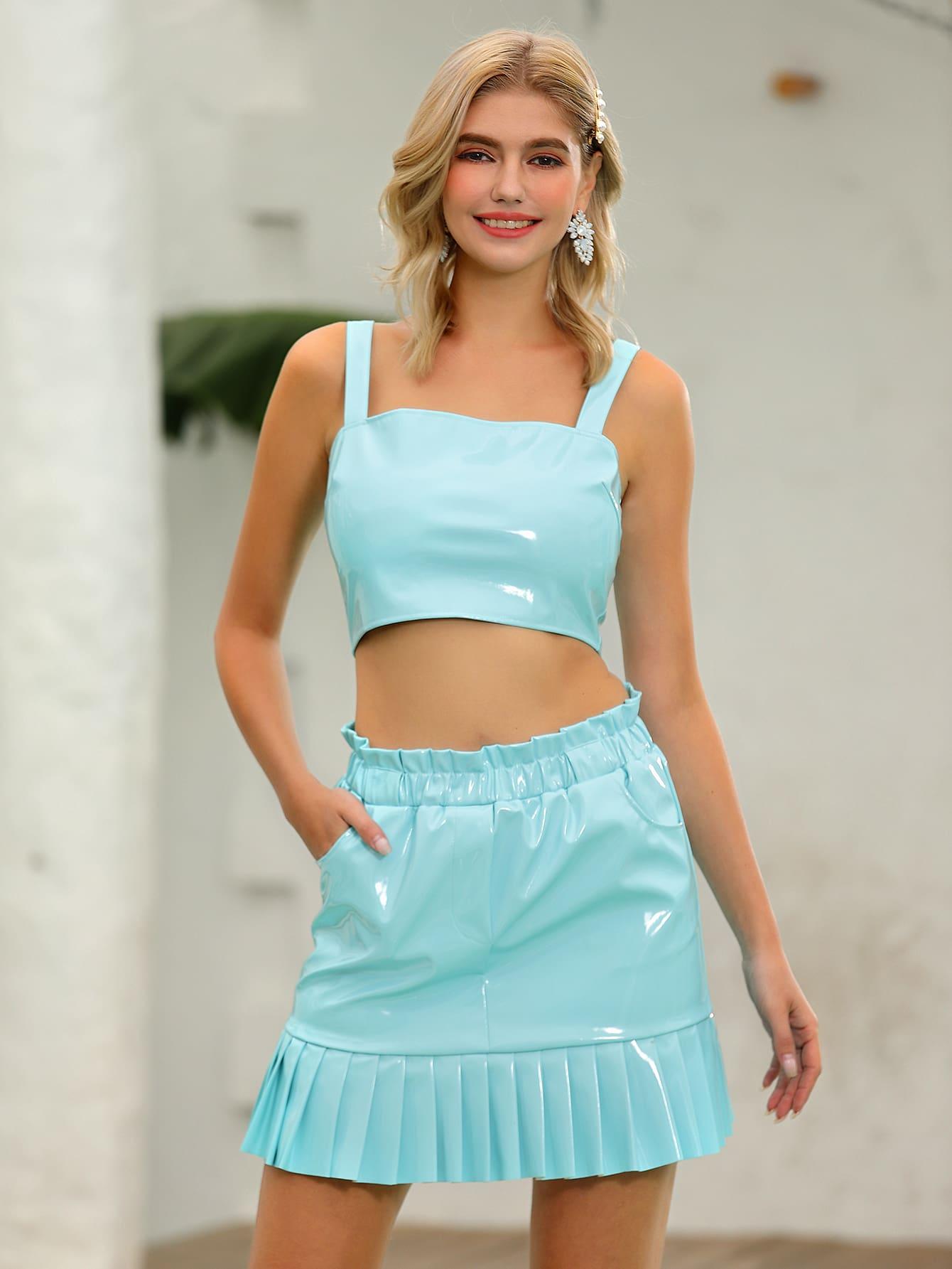 Zip Back Faux Patent Top & Pleated Hem Skirt Set thumbnail