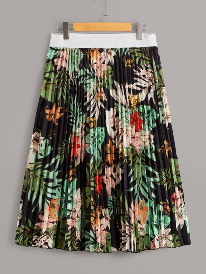 Plus Floral And Tropical Print Pleated Skirt
